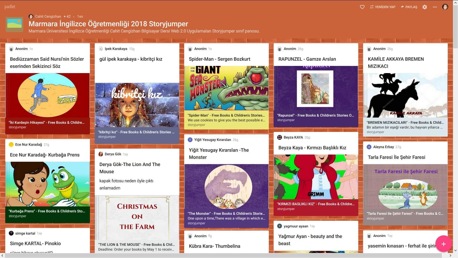 Öğrencilerin Web 2.0 Araçlarından Storyjumper Çalışmaları 2018