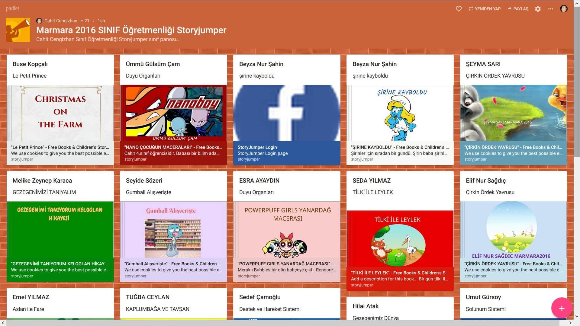 Öğrencilerin Web 2.0 Araçlarından Storyjumper Çalışmaları 2016