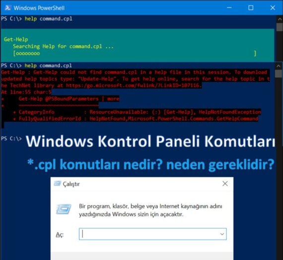Windows Kontrol Paneli Komutları